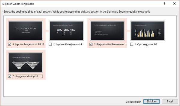 Memperlihatkan dialog sisipkan ringkasan Zoom di PowerPoint untuk presentasi tanpa bagian yang sudah ada.