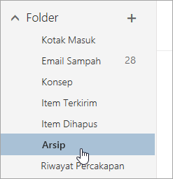 Cuplikan layar folder Arsip