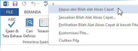 Hapus perintah Ejaan & Tata Bahasa dari Toolbar Akses Cepat