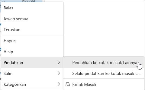 Cuplikan layar memperlihatkan menu klik kanan dengan opsi untuk berpindah ke kotak masuk lainnya dan selalu berpindah ke kotak masuk lainnya.