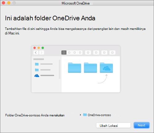 Tangkapan layar dari layar Ini Adalah folder OneDrive Anda setelah memilih folder pada panduan Selamat Datang di OneDrive pada Mac