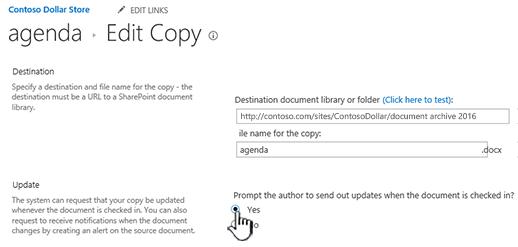 Klik Ya dalam bagian Minta penulis mengirimkan pembaruan ketika dokumen diperiksa
