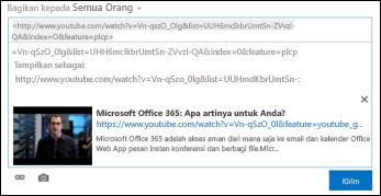 Video YouTube ditempelkan ke dalam postingan umpan berita