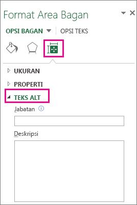 Tab Ukuran dan Properti pada panel Format Area Bagan