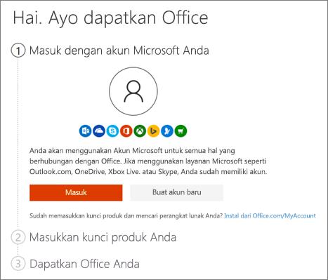 Memperlihatkan halaman pembukaan untuk setup.office.com