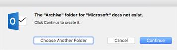 Pesan ini ditampilkan saat tombol Arsipkan pertama kali digunakan di Outlook 2016 untuk Mac