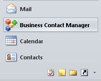 tombol business contact manager di panel navigasi