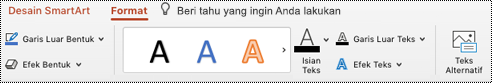 Tombol teks Alt pada pita untuk SmartArt di PowertPoint untuk Mac.