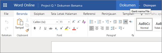 Klik bilah judul untuk mengubah nama dokumen Word Online