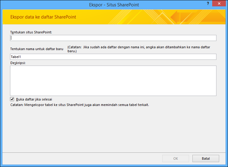 Tentukan situs SharePoint untuk mengekspor tabel atau kueri Access Anda.