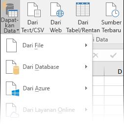 Data > Dapatkan & transformasi > Dapatkan Data opsi