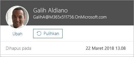 Cuplikan layar memperlihatkan perintah untuk memulihkan pengguna di administrasi Office 365.