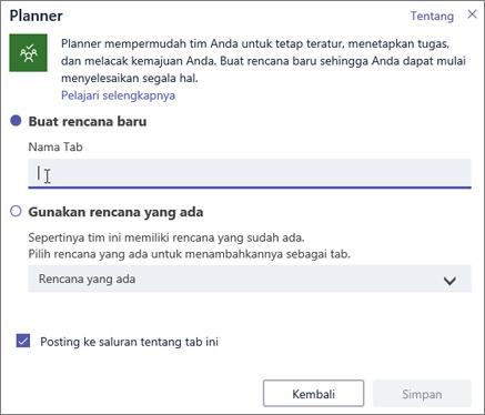 Cuplikan layar kotak dialog tab Planner di Teams