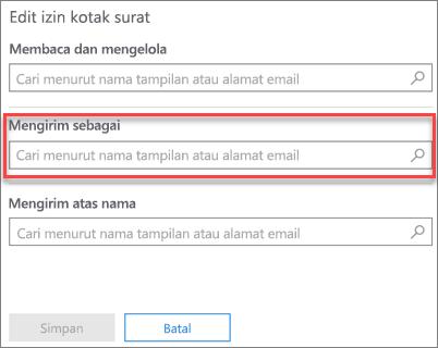 Cuplikan layar: Mengizinkan pengguna lain untuk mengirim email sebagai pengguna ini