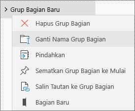 Mengganti nama grup bagian di aplikasi OneNote untuk Windows 10
