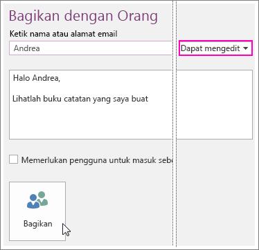 Cuplikan layar UI Berbagi di OneNote 2016.