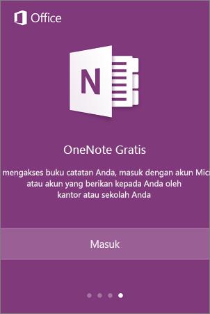 Layar masuk aplikasi OneNote