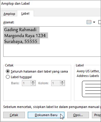 Perbarui konten kotak Alamat di Amplop dan kotak dialog Label, lalu pilih Dokumen Baru.
