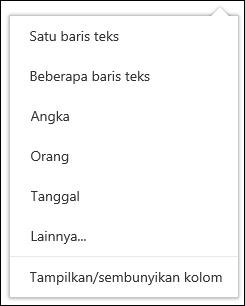Pilih kolom untuk menampilkan di pustaka dokumen