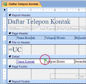Laporan yang berisi kotak teks dengan pengidentifikasi salah eja
