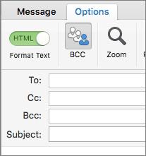 Untuk mengaktifkan kotak Bcc, buka pesan baru, pilih tab Opsi, lalu klik Bcc.