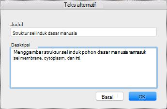 Dialog teks alternatif untuk Mac Sierra.