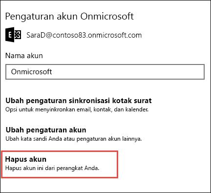Hapus akun di aplikasi Email