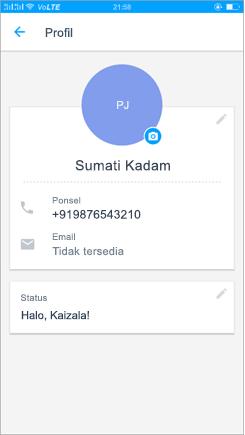 Cuplikan layar dari profil untuk memperbarui pengaturan status