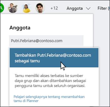 Cuplikan layar: memperlihatkan perintah menanyakan apakah Anda ingin menambahkan pengguna tamu.
