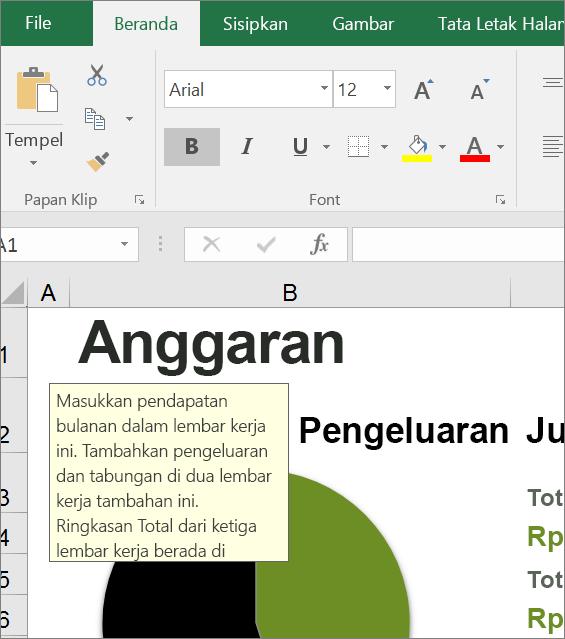 Klip layar antarmuka pengguna Excel memperlihatkan instruksi bawaan