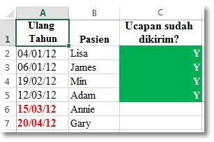 Contoh pemformatan bersyarat dalam Excel