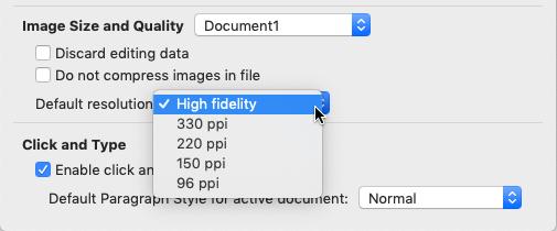 Anda dapat memilih fidelitas tinggi sebagai resolusi gambar default