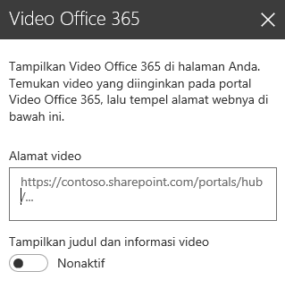 Cuplikan layar dialog alamat video Office 365 di SharePoint.