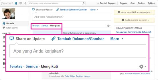 Cuplikan layar Yammer dengan kotak merah muda menyorot alihan tampilan Top, Semua, dan Mengikuti.