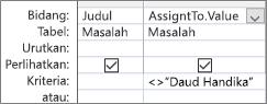 Kisi desain kueri dengan. Format nilai untuk bidang pencarian