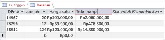 Menamai bidang dalam tabel Access