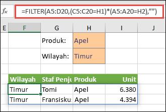 Menggunakan FILTER dengan operator perkalian (*) untuk mengembalikan semua nilai dalam rentang larik kami (A5:D20) yang memiliki Apel DAN berada di kawasan Timur.