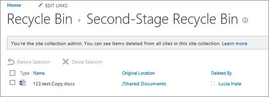 Keranjang sampah tahap kedua admin untuk memulihkan dokumen yang dihapus