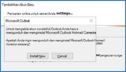 Perintah Outlook Hotmail Connector