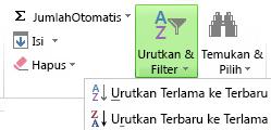 Tombol Urutkan & Filter pada tab Beranda
