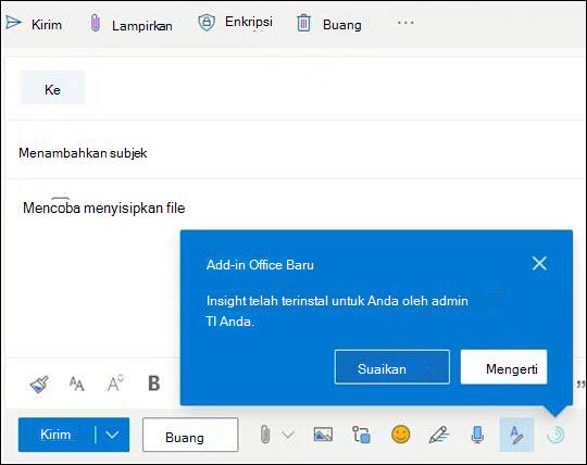 Informasi mendorong untuk Add-in ditampilkan saat menulis pesan