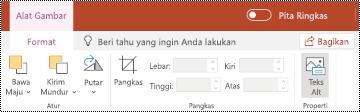 Tombol teks Alt pada pita untuk gambar di PowerPoint online.