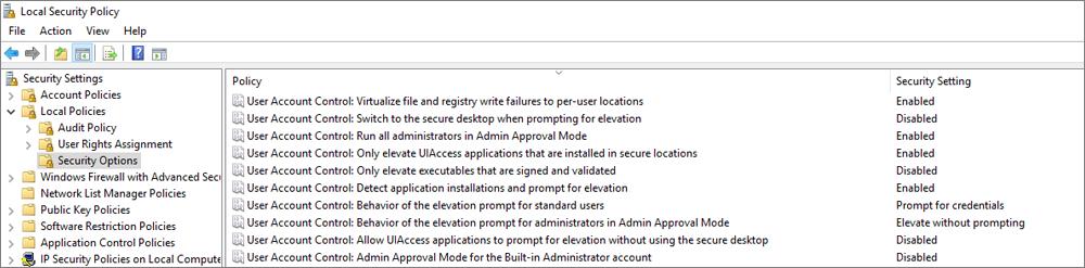 Jendela kebijakan keamanan lokal, dengan opsi keamanan memperlihatkan diperbaiki pengaturan OneDrive