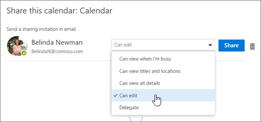 Cuplikan layar untuk dialog Bagikan kalender ini.