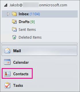 """Untuk melihat kontak Anda, pilih """"Kontak"""" di bagian bawah menu navigasi Outlook."""