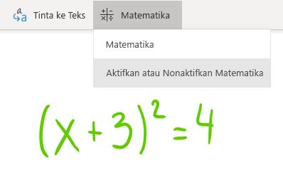 Opsi tombol matematika di OneNote untuk Windows 10