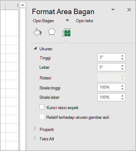 Anda bisa menyesuaikan ukuran bagan dalam kotak dialog Format Area bagan
