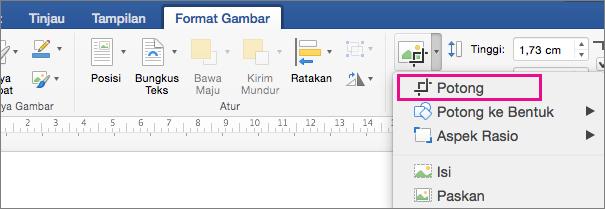 Pada tab Format Gambar, Potong disorot.
