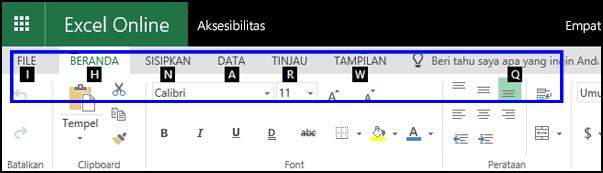 Pita ExcelOnline memperlihatkan tab Beranda dan TipsTombol di semua tab