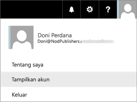 Menu pengguna dengan opsi Tampilkan akun dipilih.